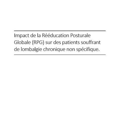 impact de la rééducation posturale globale (RPG) sur des patients souffrant de lombalgie chronique non spécifique