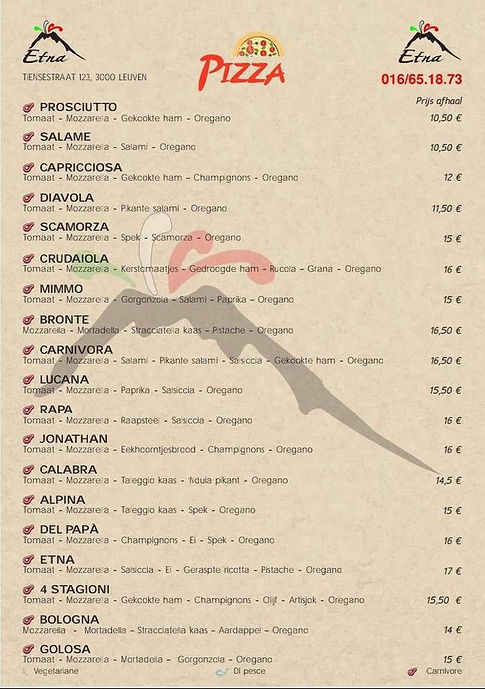 Etna menukaart 2021 deel 1