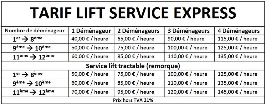 tarif lift
