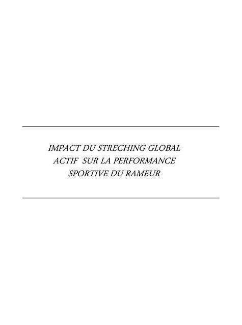 impact du stretching global actif sur la performance sportive du rameur