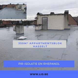 PIR-Isolatie en Rhepanol op appartementsblok te Hasselt