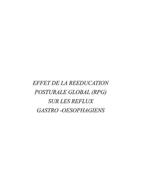 Effet de la Rééducation Posturale globale (RPG) sur les reflux gastro-oesophagiens