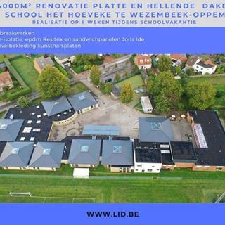 4000m2 renovatie platte en hellende daken school Het Hoeveke, Wezembeek-Oppem