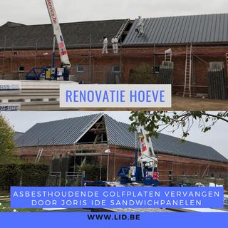 Renovatie van het dak van een hoeve: verwijderen asbesthoudende golfplaten en vervangen door Joris Ide sandwichpanelen