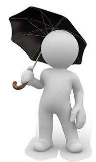 mannetje met paraplu