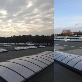 Roofing ATAB, PIR-isolatie, sandwichpanelen en lichtstraten polycarbonaat - Winkelcomplex Zaventem