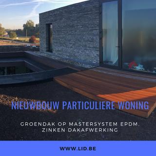 mastersystems EPDM, dakrandafwerkingen in zink, boorden afgewerkt met koper Nordic Brown Light, terrasbeplanking in afrormosia, groendak (net geplaatst)