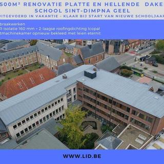 1500 m2 renovatie platte en hellende daken, school St Dimpla Geel