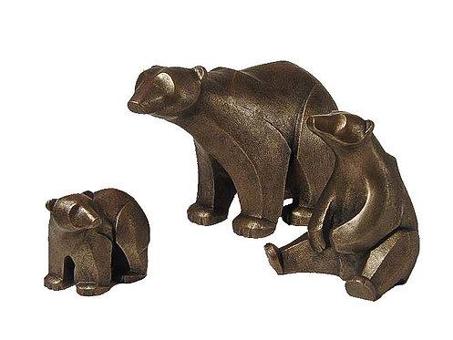 Polar Bear family of 3 - Bronze Finish
