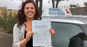 Passed her driving test with Marshall Driver Training
