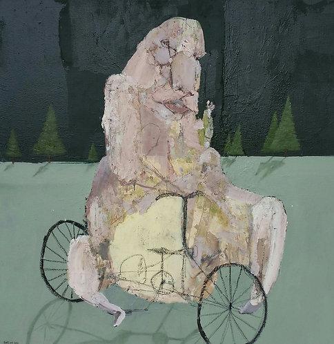 Bastiaan van Stenis Past Ernst Forest Man on bike Green background