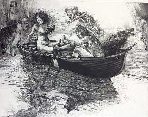 Diane Victor - Crossing the River, Etching