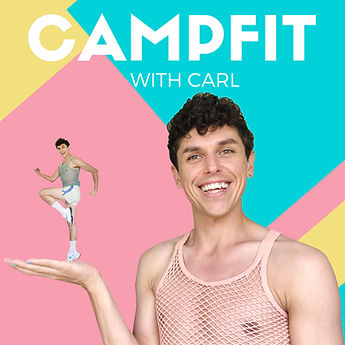Camp Fit: Smiling online exercise instructor in string vest dancing. Colourful and camp.