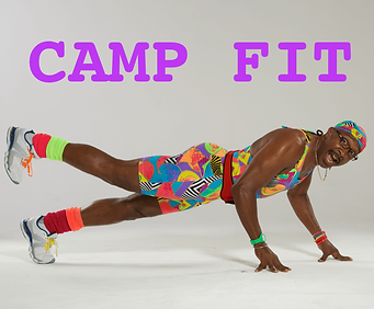 Camp Fit: Mr. Motivator doing a one legged press up in a very colourful unitard.