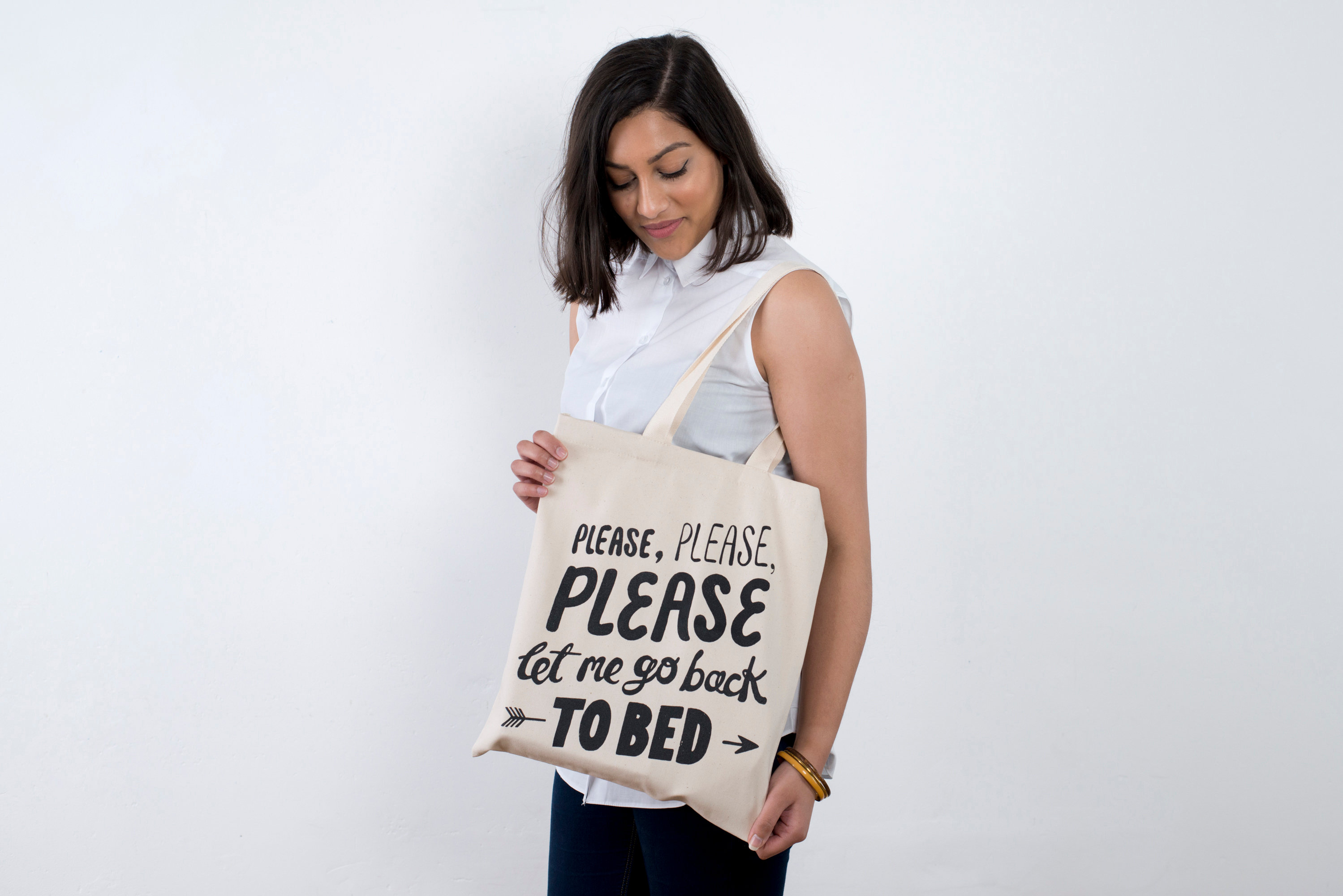 a7747d3b Please, please let me go back to bed tote bag