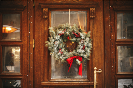 Christmas wreath, greenery, Christmas decor