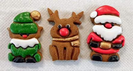 Tro of Christmas Cookies - Wrapped and tied with a ribbon