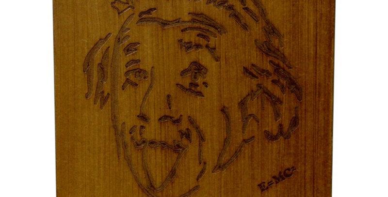 Quadro Rústico Albert Einstein - 49x35cm