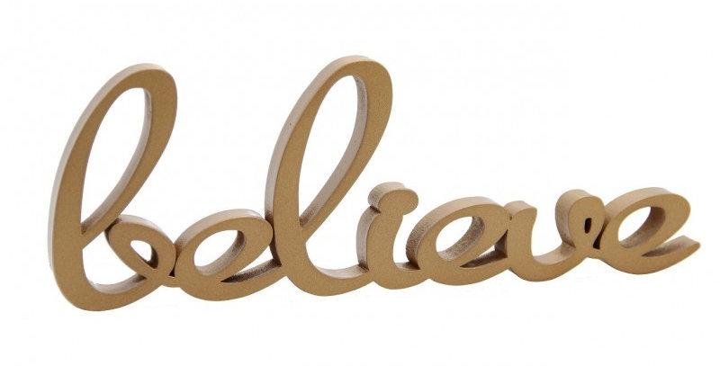 Palavra Decorativa Believe - 10x30cm