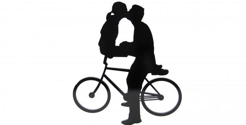Quadro Decorativo Casal Bicicleta - 38x33cm