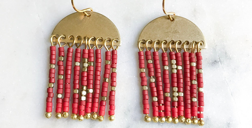 Rio Earrings in Rouge