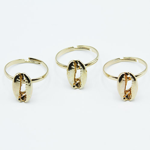 3 Gold Cowrie Shell Rings (ADJUSTABLE)
