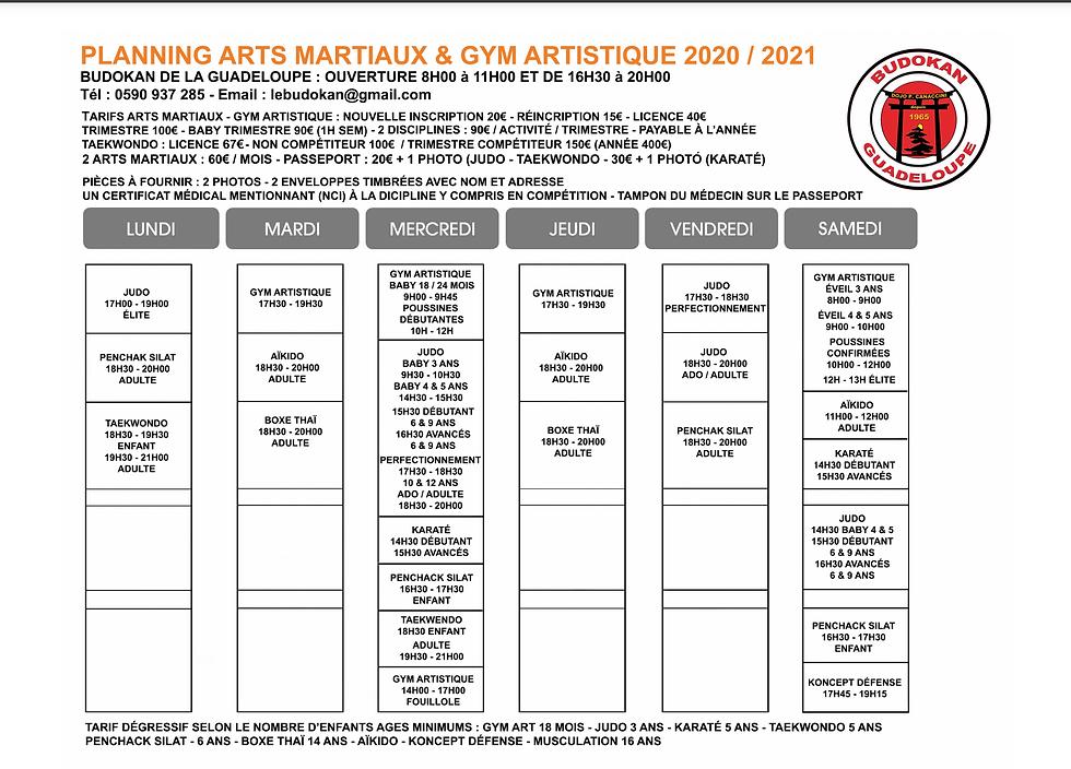 planning arts martiaux et gym guadeloupe
