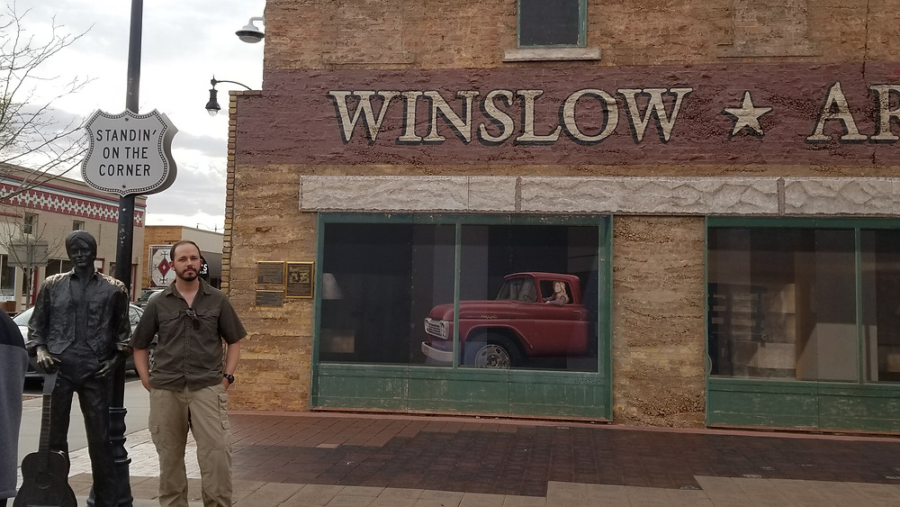 Mike at Standin' on the Corner park - the only draw for Winslow, AZ