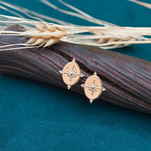 boucles d'oreilles en forme de losange en plaqué or