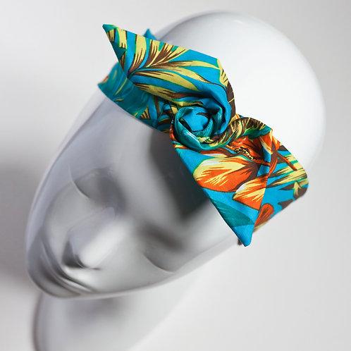 bandeau cheveux pour femme turquoise imprimé tropical
