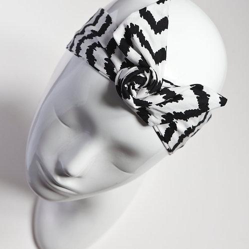bandeau cheveux pour femme imprimé graphique à chevrons noir et blanc