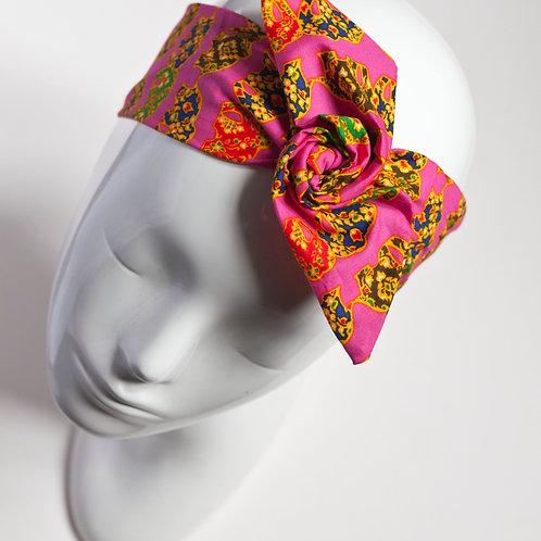 bandeau cheveux pour femme rose imprimé éléphants multicolore