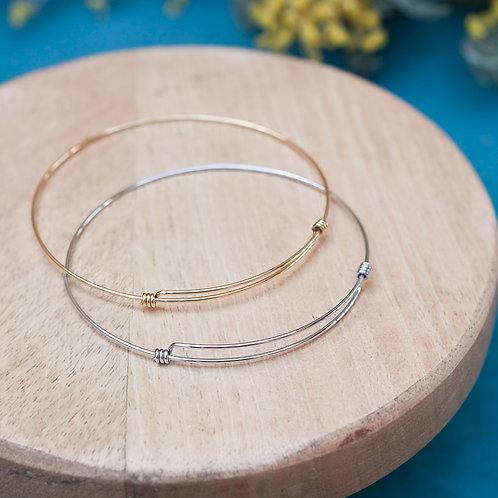 bracelet jonc fin et rigide pour femme en acier inoxydable doré ou argenté