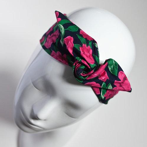 bandau cheveux pour femme noir imprimé fleuri rose et vert