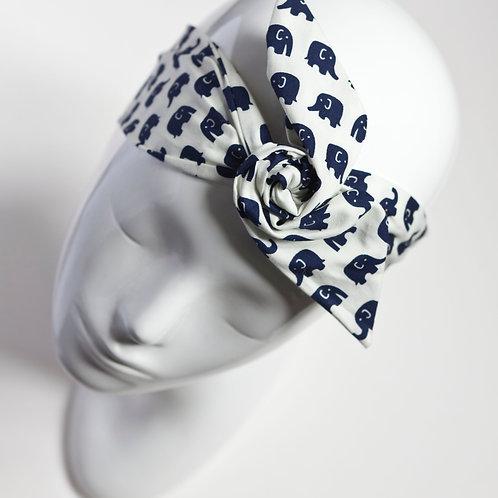 bandeau cheveux enfant blanc imprimé éléphants bleu marine