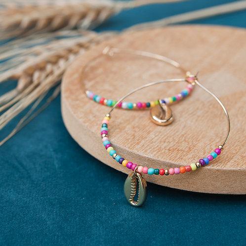 créoles pour femme en acier inoxydable perles multicolores et coquillage doré