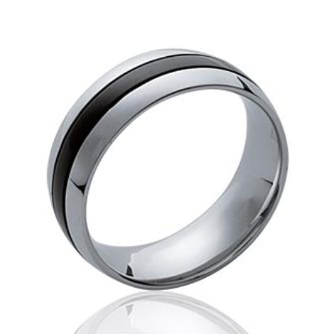 bague homme anneau en acier avec une bande noir au milieu tout autour