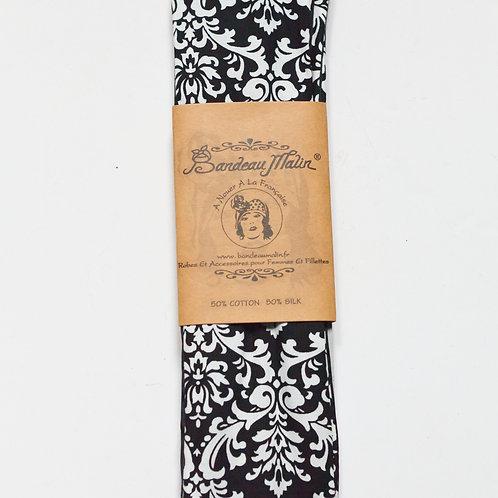 bandeau cheveux style baroque noir et blanc