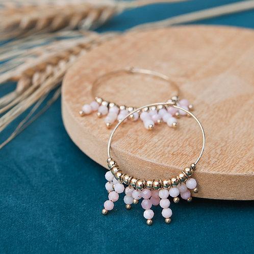 créoles pour femme en acier inoxydable et petites perles roses nude