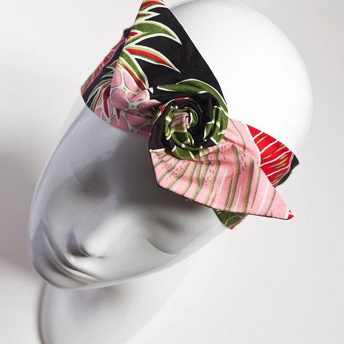 bandeau cheveux femme noir imprimé ananas
