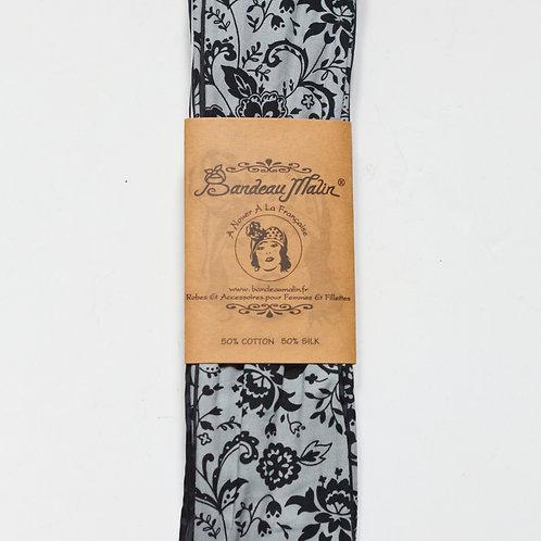 bandeau cheveux femme motif arabesques gris et noir