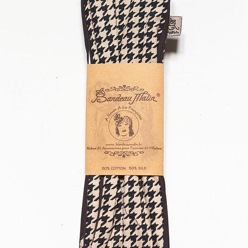 bandeau cheveux femme imprimé pied de poule
