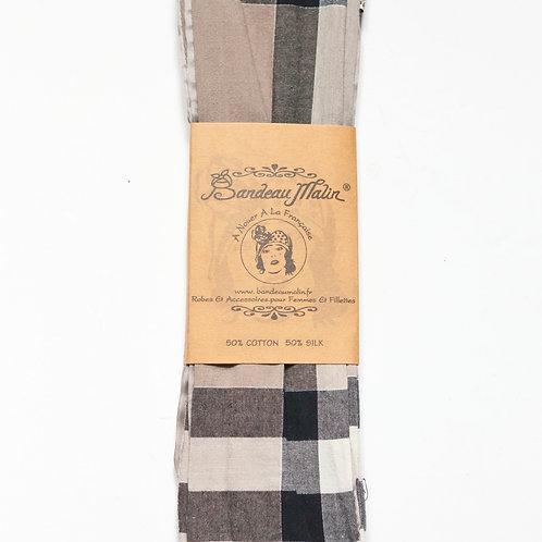 bandeau cheveux femme à carreaux et armé de fil de fer