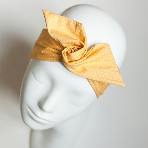 bandeau malin fil de fer motif jaune à pois blanc