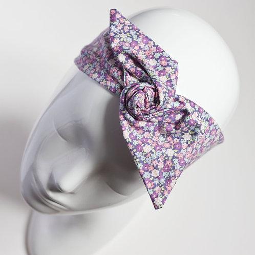 bandeau cheveux pour femme imprimé liberty dans les tons lilas