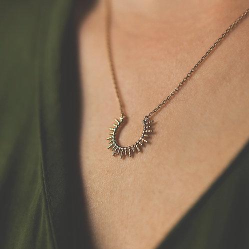 collier demi soleil à picots en plaqué or pour femme