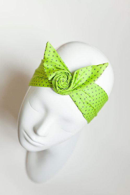bandeau malin fil de fer motif vert à pois gris