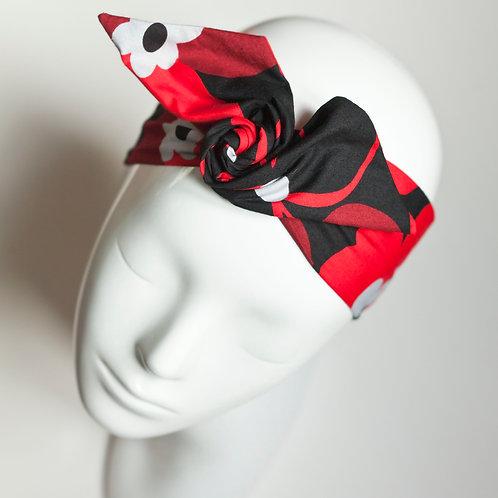 bandeau malin fil de fer rouge et noir fleurs