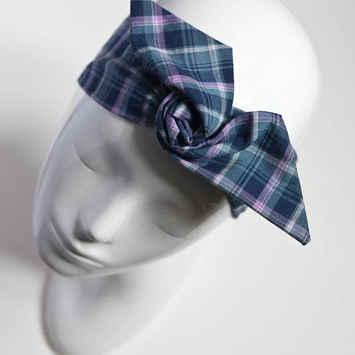 bandeau cheveux femme bleu imprimé carreaux