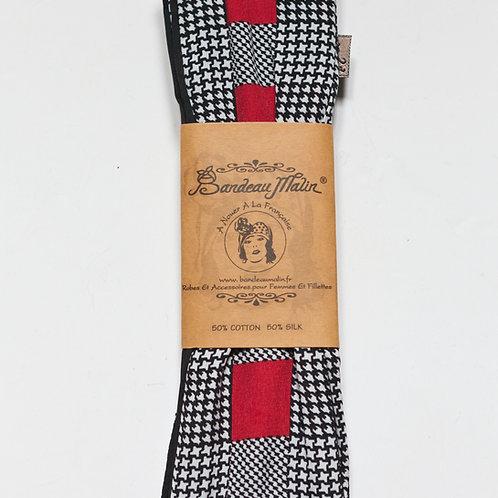 bandeau cheveux femme style vintage à motif pied de poule